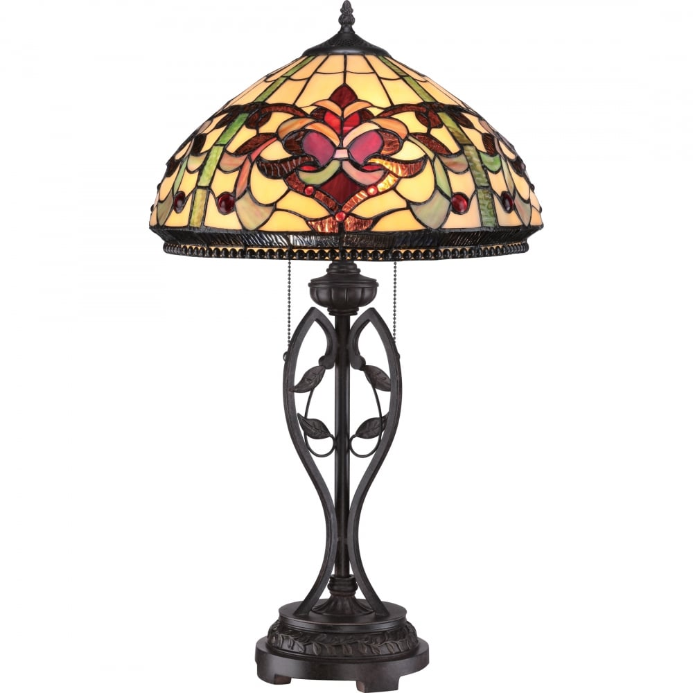 Large tiffany style table lamp with ruby red and cream shade Tiffany style table lamp
