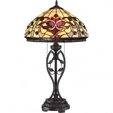 Tiffany table lamp with ruby red and cream glass shade