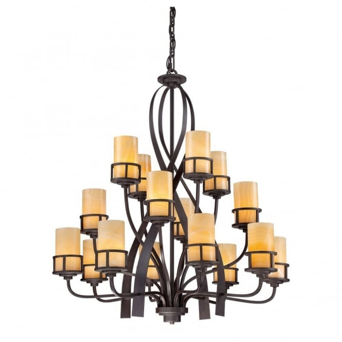 Quoizel KYLE rustic 16lt chandelier in bronze finish with butterscotch onyx candle effect shades
