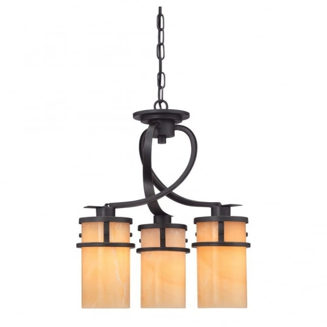 Quoizel KYLE rustic 3lt chandelier pendant in bronze with onyx candle effect shades