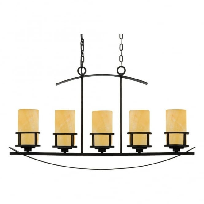 Quoizel KYLE rustic 5lt island pendant light in bronze with onyx candle effect shades