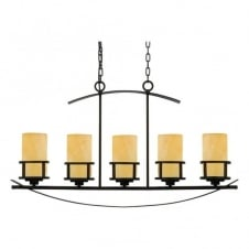 rustic 5 light pendant bar in bronze with butterscotch onyx candle effect shades