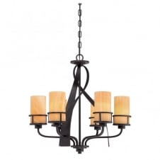 rustic 6 light pendant chandelier in bronze with butterscotch onyx shades