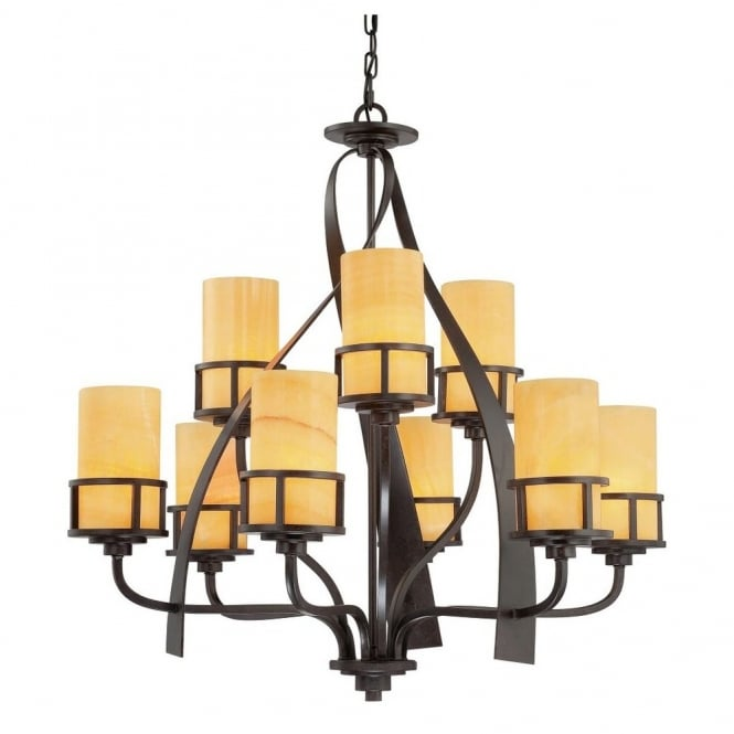 Rustic 9 light chandelier in bronze with butterscotch onyx shades
