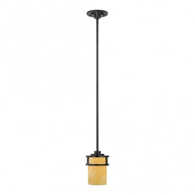Quoizel KYLE rustic mini ceiling pendant with bronze rod suspension & butterscotch onyx shade