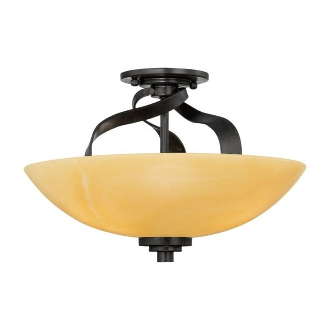 Quoizel KYLE rustic semi flush ceiling light with bronze fitting and butterscotch onyx shade