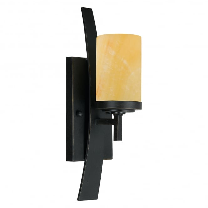 Quoizel KYLE rustic wall sconce in bronze with onyx candle effect shade