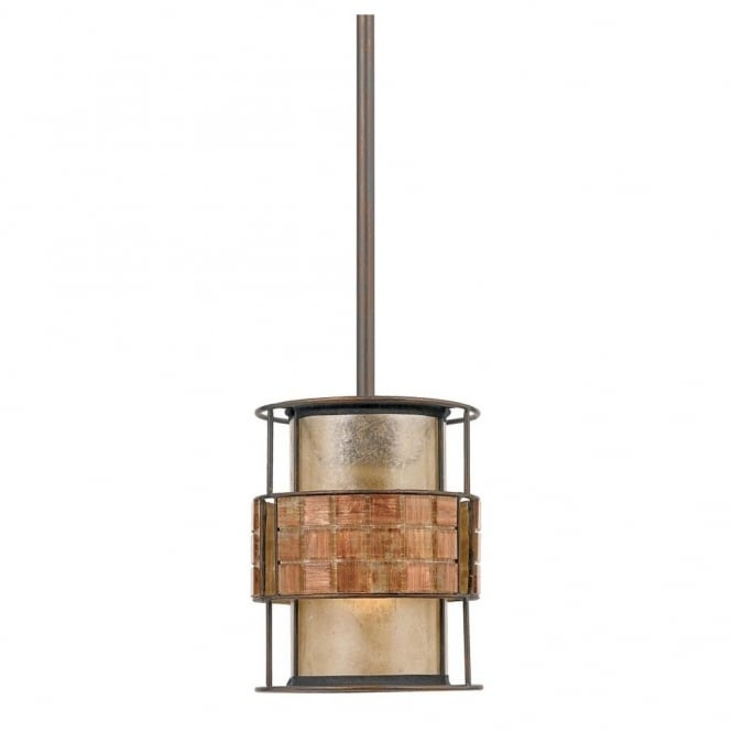 Quoizel LAGUNA decorative rustic mini ceiling pendant with mosaic tile band with taupe mica inner shade