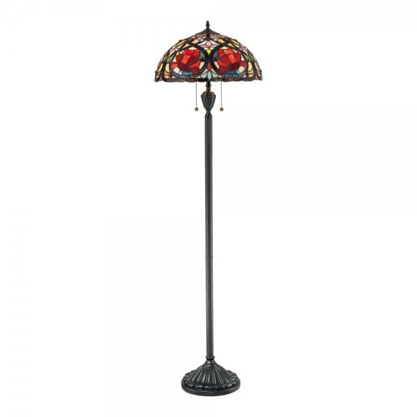 Tiffany Floor Lamp In Bronze With Red Rose Glass Shade