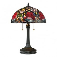 Tiffany table lamp with bronze base and red rose glass shade