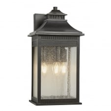 classic imperial bronze outdoor wall lantern with seeded glass