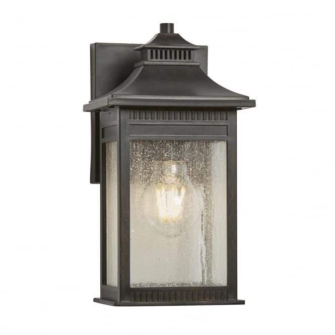 LIVINGSTON classic exterior wall lantern in imperial bronze with seeded glass (small)