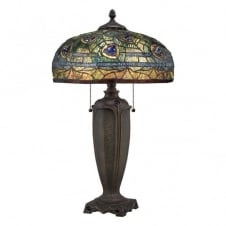 Tiffany table lamp with bronze base and blue/green peacock pattern shade