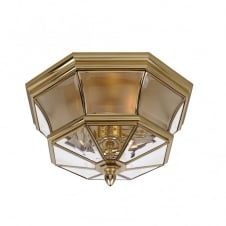 classic flush fit polished brass exterior light with clear glass panels