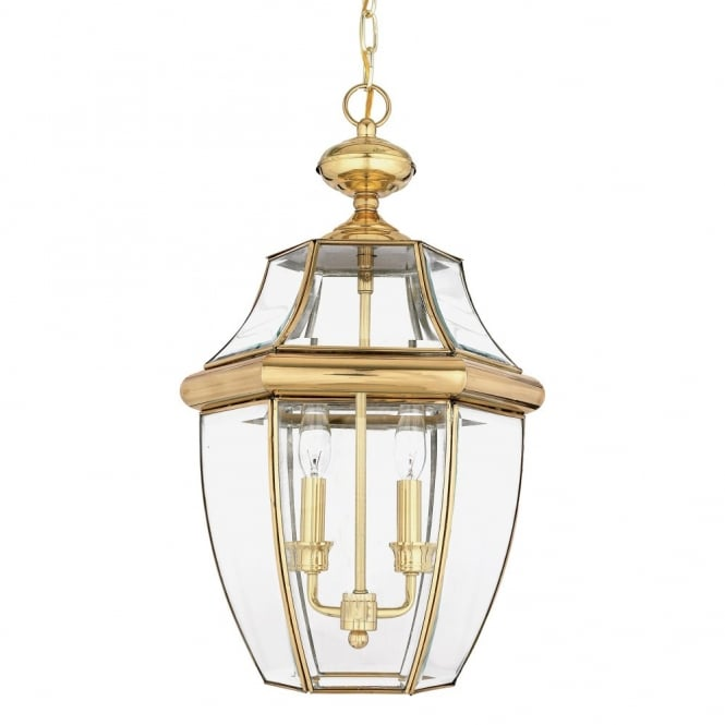 Classic exterior hanging lantern in polished brass w clear glass traditional outdoor hanging lantern in polished brass with clear glass shades aloadofball Image collections