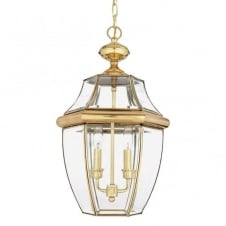 traditional outdoor hanging lantern in polished brass with clear glass shades