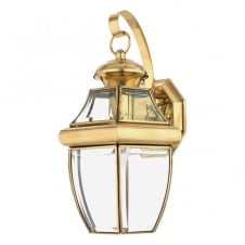 traditional outdoor wall lantern in polished brass with clear glass shades