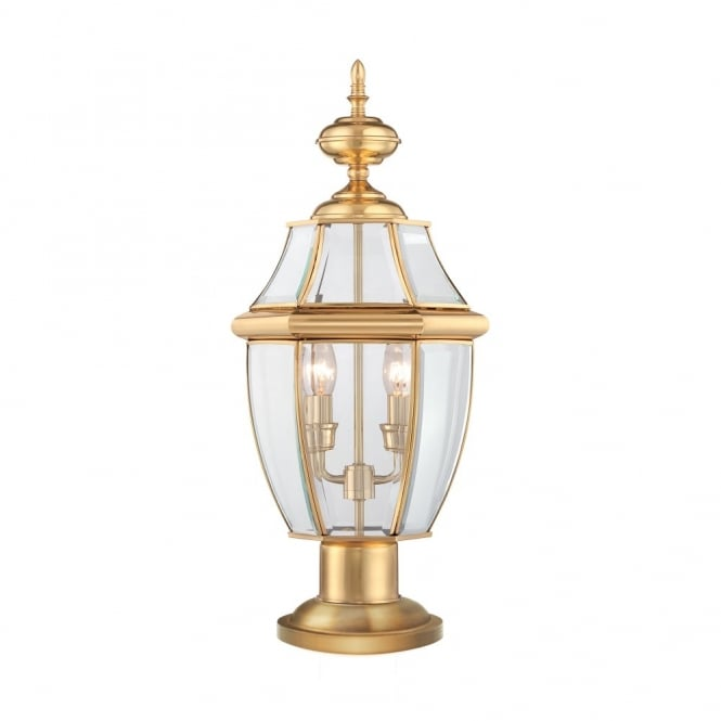NEWBURY classic style polished brass outdoor pedestal light