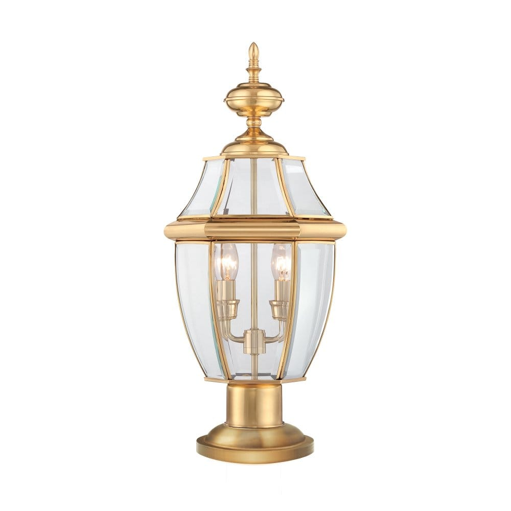 Exterior Pedestal Lantern In Polished Brass With Clear Glass Panels