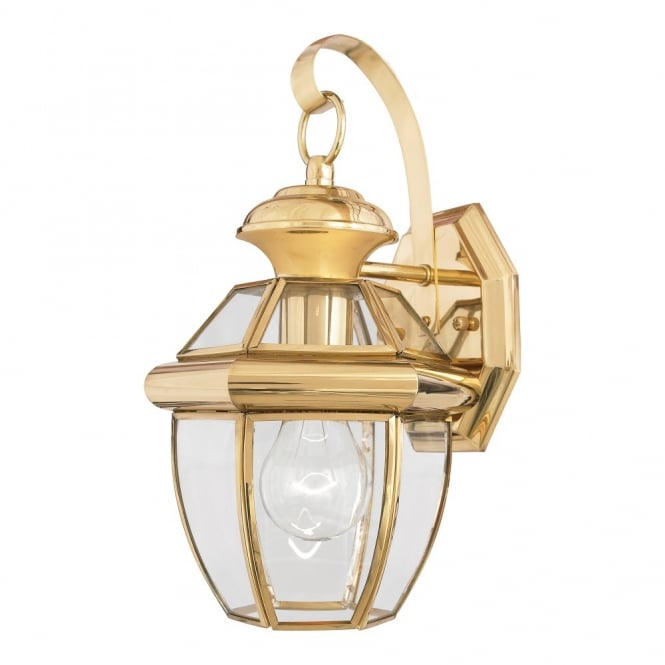 NEWBURY classic style polished brass small exterior wall lantern