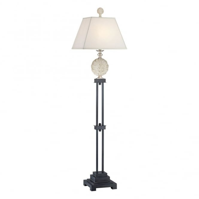 PALMETTA modern floor lamp with silver and black base with ivory leaf ornament and white linen shade