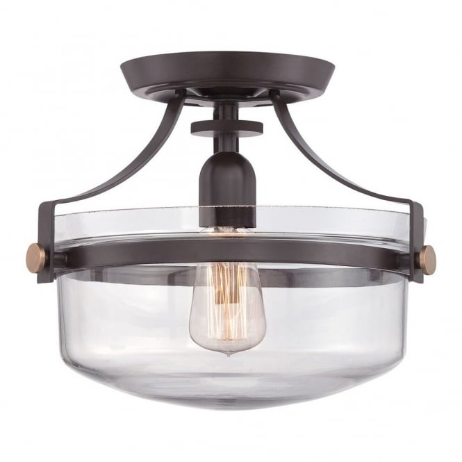 Quoizel PENN STATION vintage industrial semi flush ceiling light in bronze with clear glass dome shade