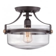 PENN STATION vintage industrial semi flush ceiling light in bronze with clear glass dome shade