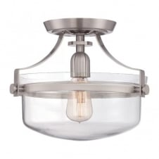 PENN STATION vintage industrial semi flush ceiling light in brushed nickel with clear glass dome shade