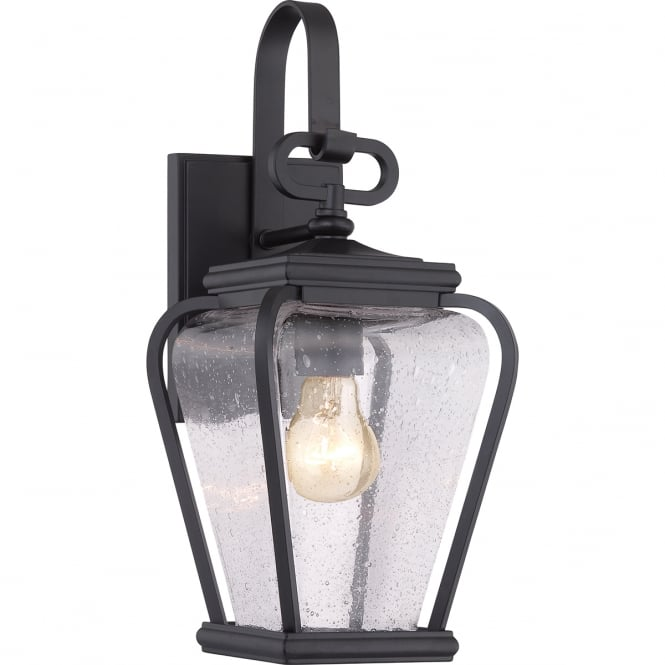 PROVINCE traditional outdoor wall lantern in black with seeded glass
