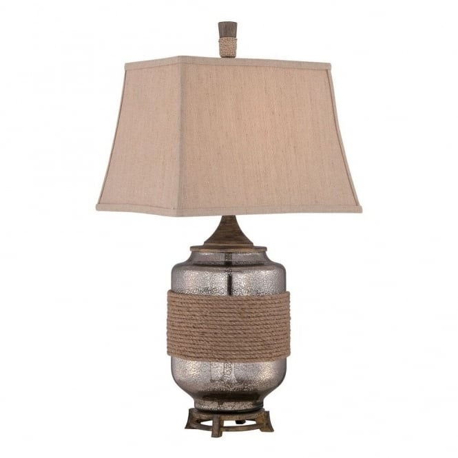 RIGGING rustic coastal table lamp with mercury glass base and rope detail complete with sand linen shade