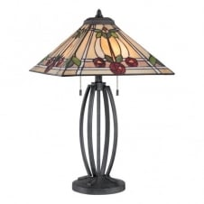 RUBY Tiffany table lamp with black base and mackintosh rose glass panel shade