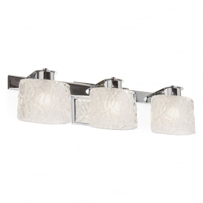 SEAVIEW polished chrome 3 light bathroom wall light with glass shades