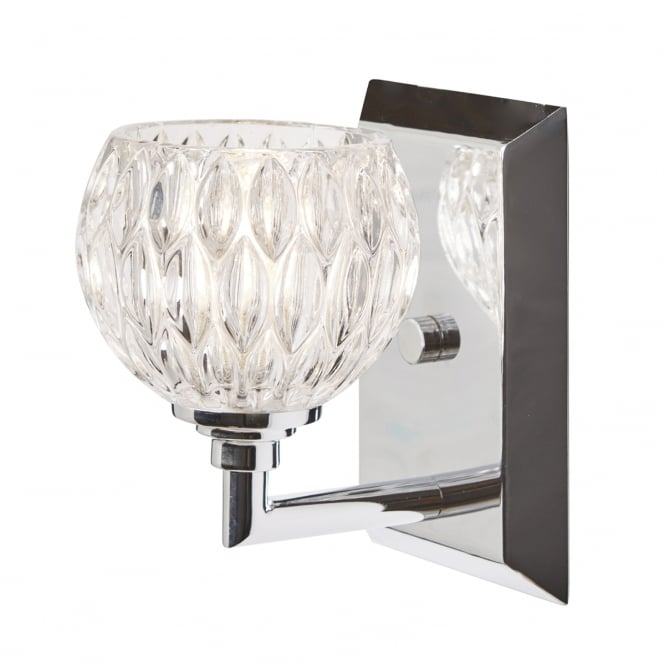 Quoizel SERENA single chrome bathroom wall light with cut glass shade