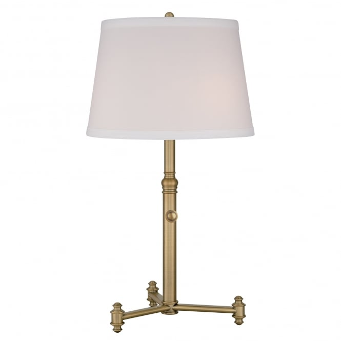 SOUTHWAY traditional aged brass table lamp complete with geneva hardback shade