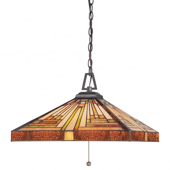 Quoizel STEPHEN 3lt Tiffany ceiling pendant with warm tone Art Deco glass panel shade