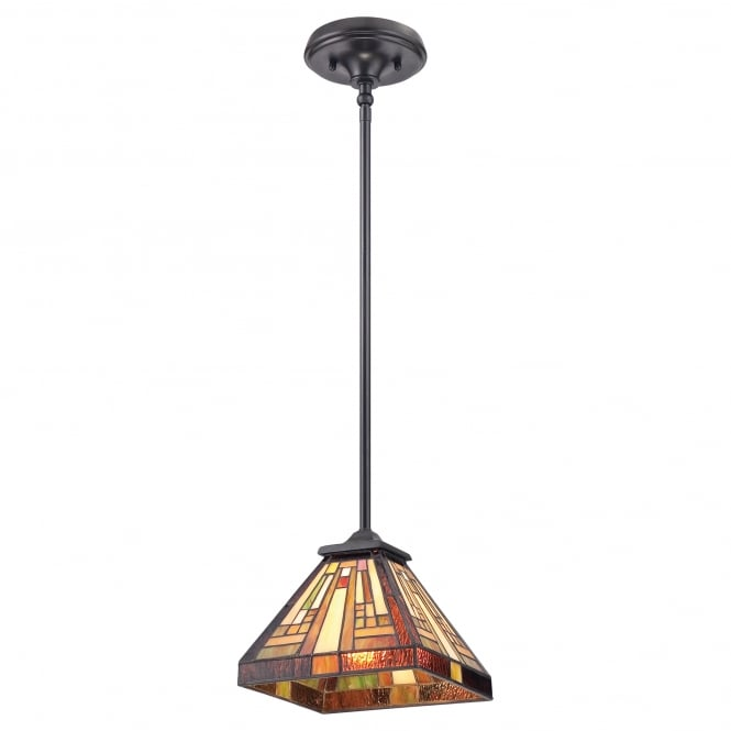 Quoizel STEPHEN mini Tiffany ceiling pendant with warm tone Art Deco shade and bronze rod suspension