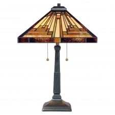 STEPHEN Tiffany table lamp with bronze base and decorative Art Deco glass panel shade