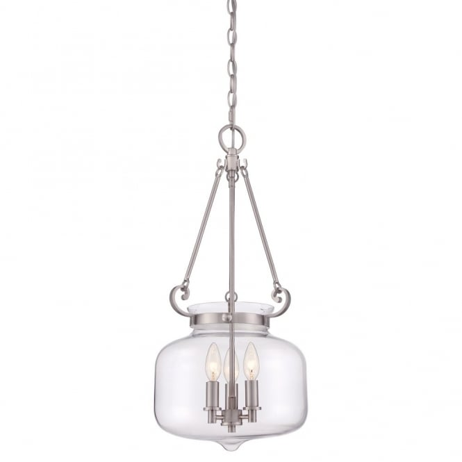 Quoizel STEWART modern classic glass 3lt ceiling pendant lantern with brushed nickel frame