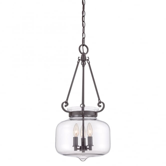 Modern Classic Glass Ceiling Pendant Lantern In Old Bronze