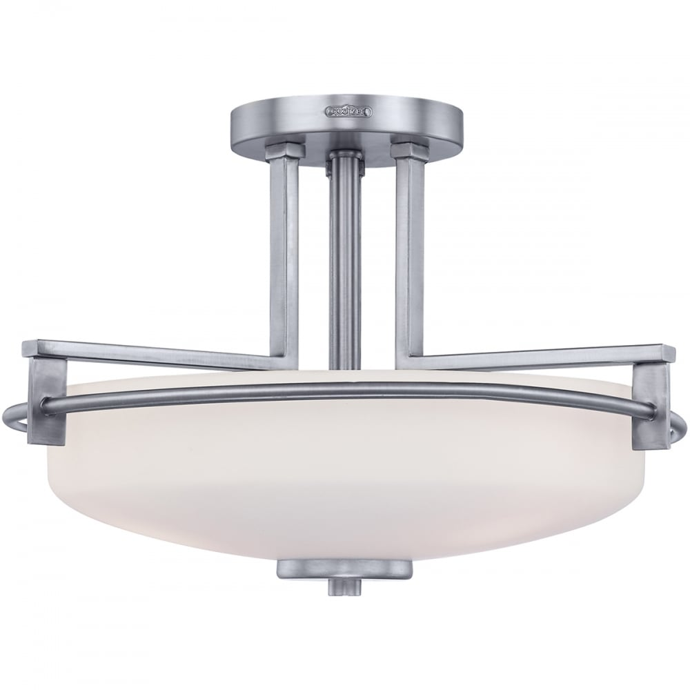 Modern semi flush bathroom ceiling light in chrome with opal glass