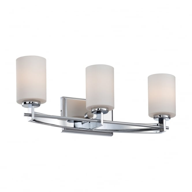 Quoizel TAYLOR 3lt bathroom wall light in chrome with opal glasses