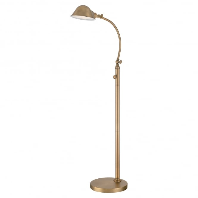 THOMPSON retro design LED floor lamp in an aged brass finish