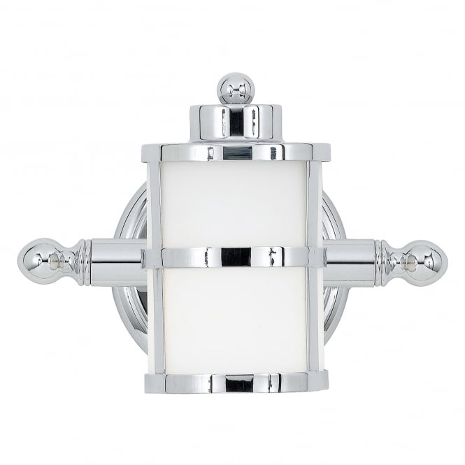 Classic Chrome Wall Lights : Classic Art Deco Inspired Wall Light in Chrome with Opal Glass Shade