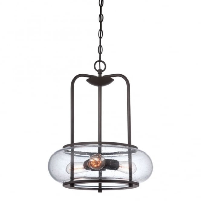 Quoizel TRILOGY vintage 3lt ceiling pendant with old bronze chain suspension and frame with seeded glass shade