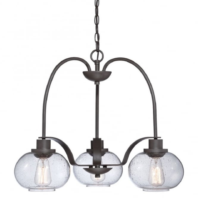 Quoizel TRILOGY vintage 3lt chandelier with bronze chain suspension and frame complete with clear seeded glass shades