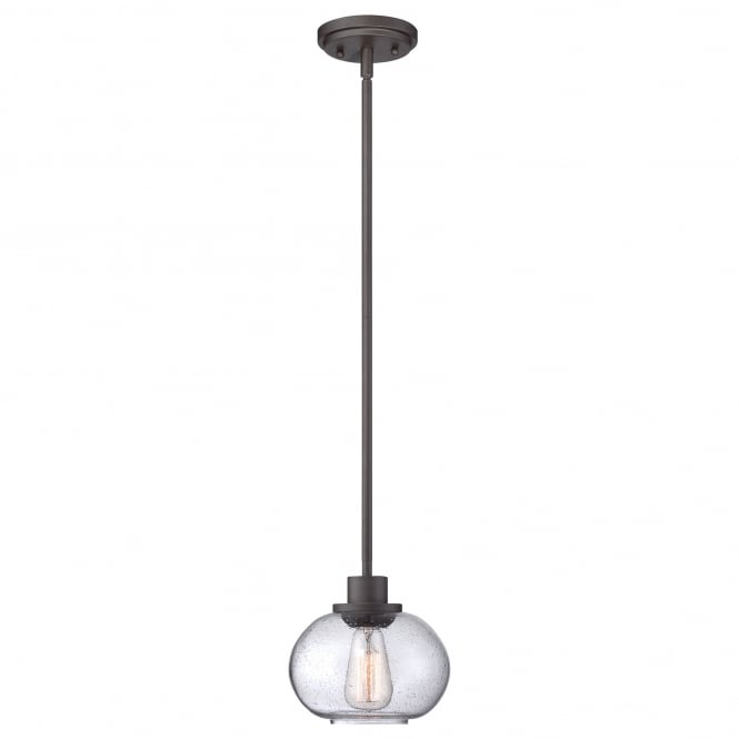 Quoizel TRILOGY vintage mini ceiling pendant with old bronze rod suspension and seeded glass shade