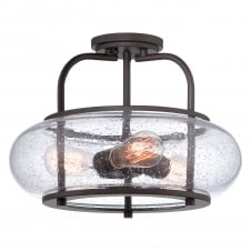 TRILOGY vintage semi flush ceiling light with old bronze fitting and seeded glass shade (medium)