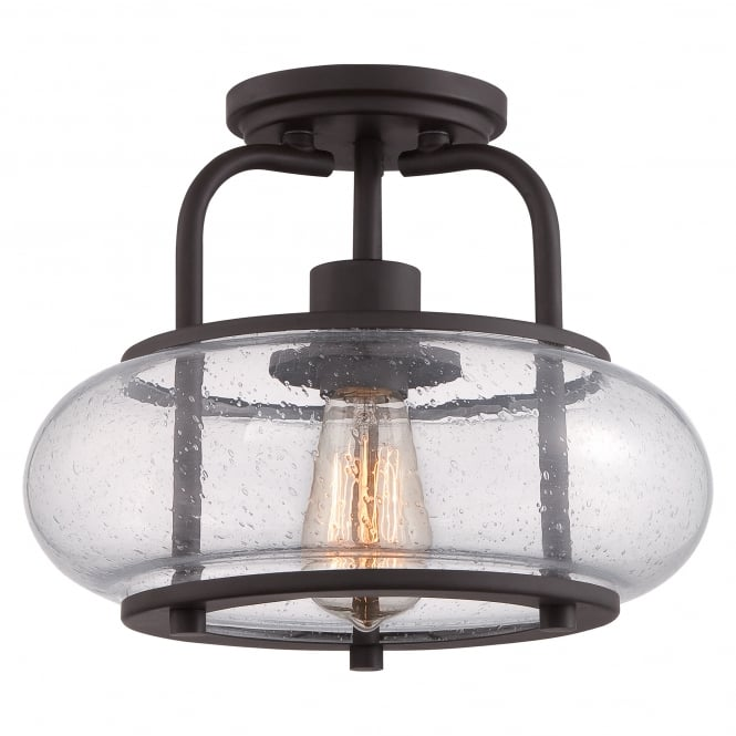 Quoizel TRILOGY vintage semi flush ceiling light with old bronze fitting and seeded glass shade (small)