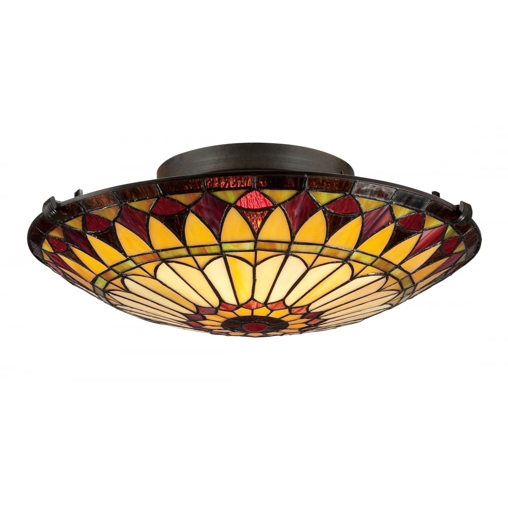 Tiffany style flush fit ceiling light tiffany flush fit ceiling light in red and cream mozeypictures Image collections