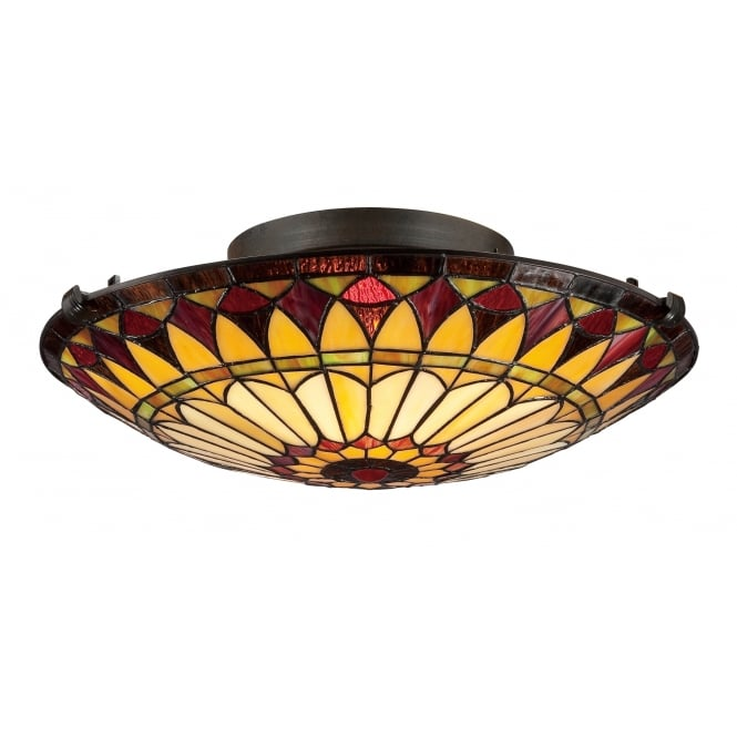 Quoizel WEST END Tiffany style flush fit ceiling light
